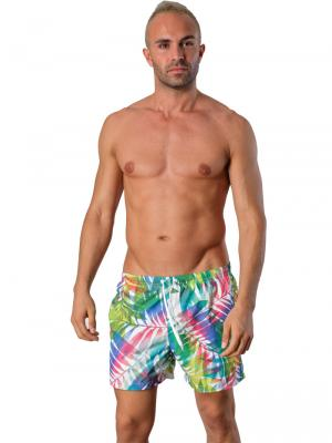 Geronimo Swim Shorts, Item number: 1405p1 Leafs, Color: White, photo 2