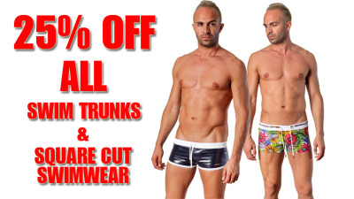 25% off on mens swim trunks and swim hipsters