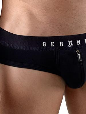 Geronimo Briefs, Item number: 1766s2 Black Zip Front Brief, Color: Black, photo 3