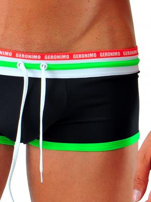 Geronimo Square Shorts, Item number: 1626b2 Black Green Hipster, Color: Black, photo 3