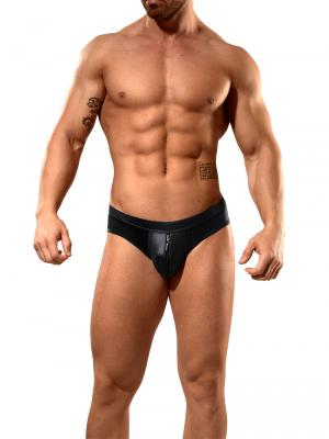 Geronimo Fetish, Item number: 1840s30 Black Leather Zip Brief, Color: Black, photo 2