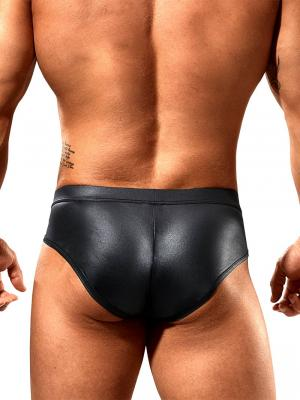 Geronimo Fetish, Item number: 1840s30 Black Leather Zip Brief, Color: Black, photo 4