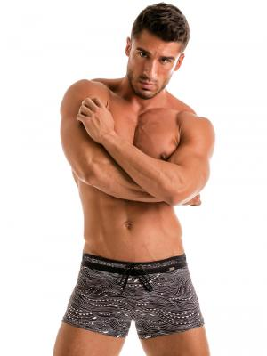 Geronimo Boxers, Item number: 1917b1 Black Wave Swim Trunk, Color: Black, photo 2