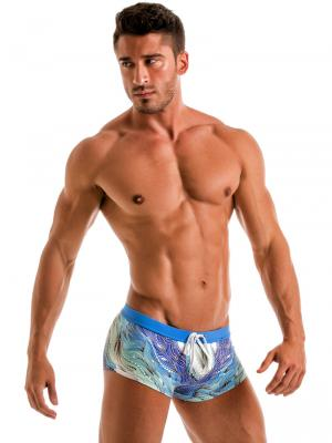 Geronimo Square Shorts, Item number: 1918b2 Coral Seaweed Hipster, Color: Blue, photo 4
