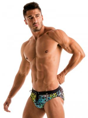 Geronimo Briefs, Item number: 1907s2 Blue Splatter Swim Brief, Color: Blue, photo 2