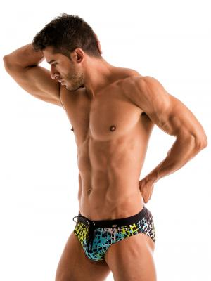 Geronimo Briefs, Item number: 1907s2 Blue Splatter Swim Brief, Color: Blue, photo 3