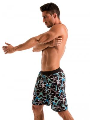Geronimo Board Shorts, Item number: 1909p4 Blue Shark Surf Shorts, Color: Blue, photo 4